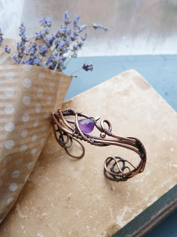 Amethyst Bracelet Cuff - Wire copper bracelet - Elegant fashion jewelry - Gift for women - Christmas gift - February gemstone