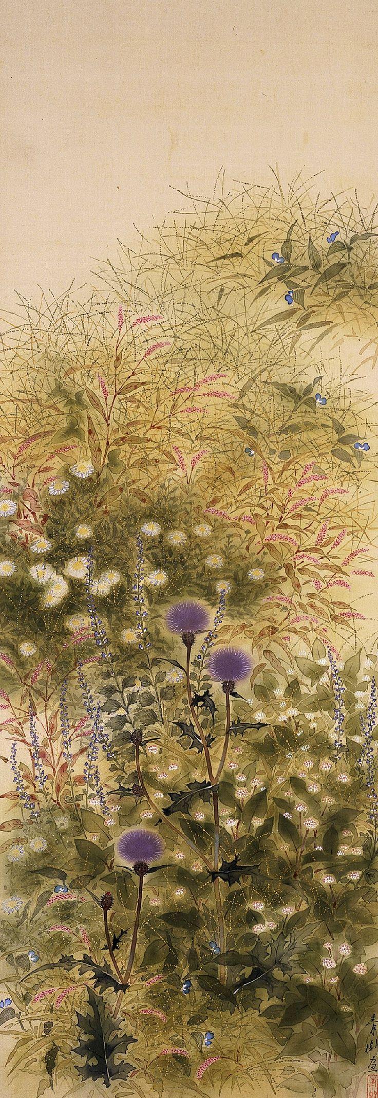 .... Художник Hayami Gyoshu- Осенние цветы