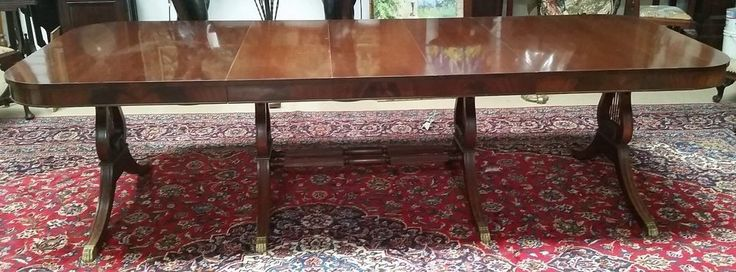 Antique Mahogany DINING TABLE 3 leaves  L111'' x H 30'' x W44'' 4 Lyre Pedestals #Federal