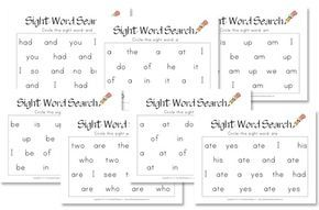 There are 45 sight word search worksheets for words: a, am, and, are, at, ate, be, big, but, can, do, eat, for, get, go, had, he, his, I , in, is, it, me, new, not, of, on, our, out, saw, say, see, she, so, sun, the, to, too, two, up, was, we, who, yes, you.