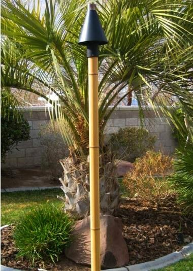 Modern Black Cone Outdoor Gas Tiki Torch With Pindo Palm Web