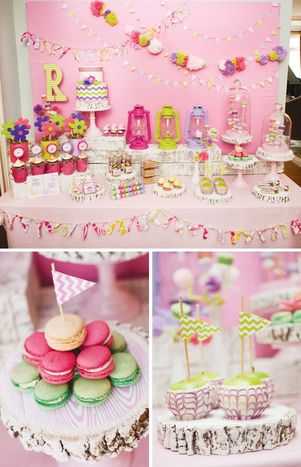 glam-camping-party-dessert-table- Colored lanterns at each place setting with names of girls on them- take home favors - they can use all night and take home as a party favor.