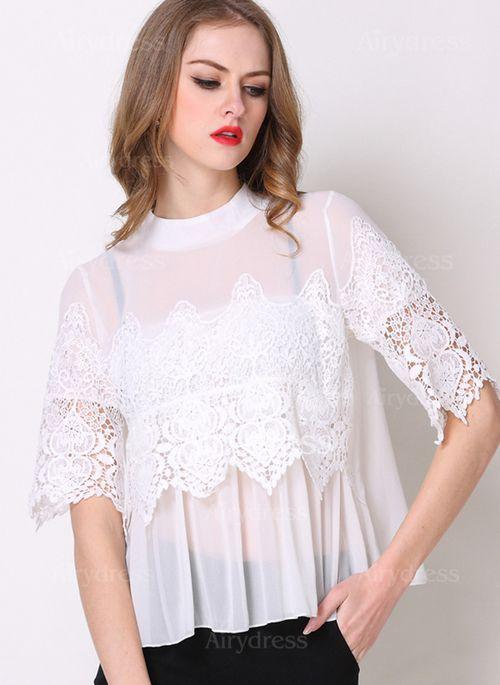 T-shirts - $22.50 - Chiffon Solid Round Neck Half Sleeve Vintage T-shirts & Vests (1685122219)