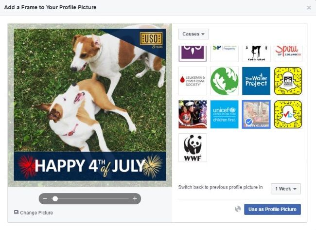 USO Creates Temporary Facebook Profile Picture Frame for July 4