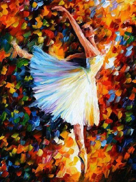 Pintado a mano de la bailarina de ballet pesado colorido color cuchillo pintura al óleo decoración de la pared pintura de la lona F189