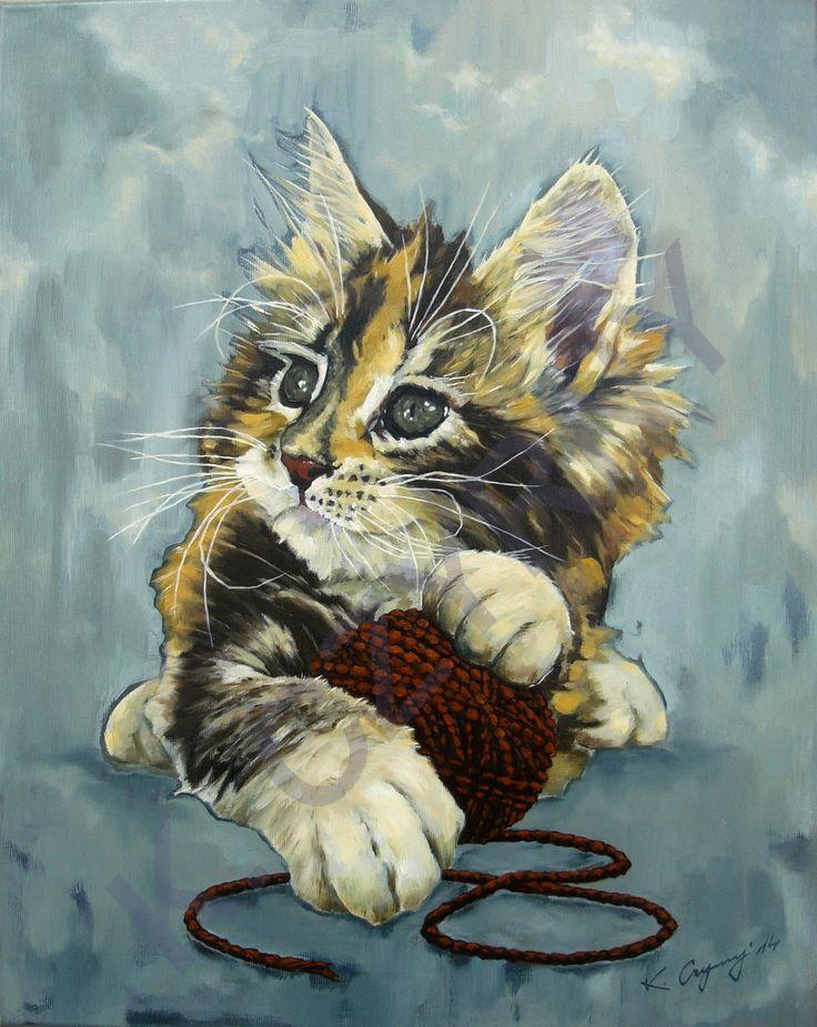 """Krzysztof Czyrny """"Kot"""" Olej na płótnie. 40x50 cm."""