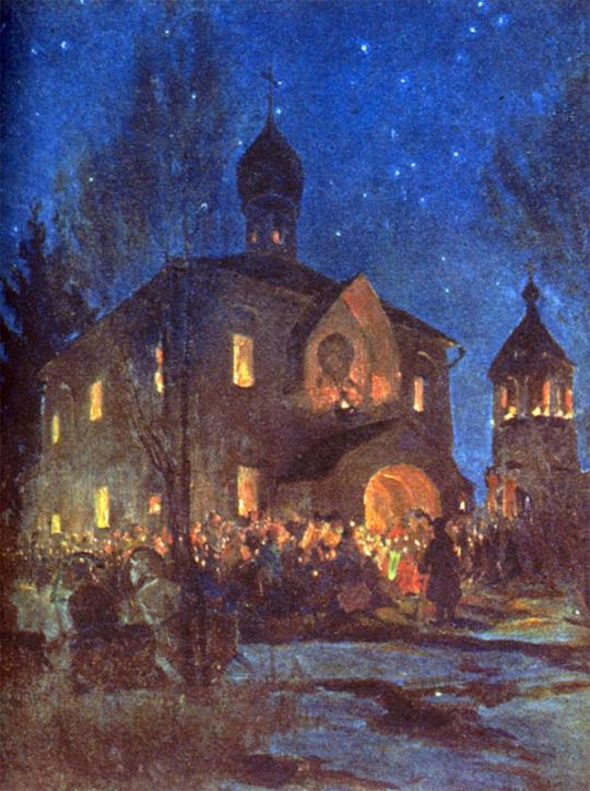 """""""Eve of Easter"""", B.Kustodiev"""