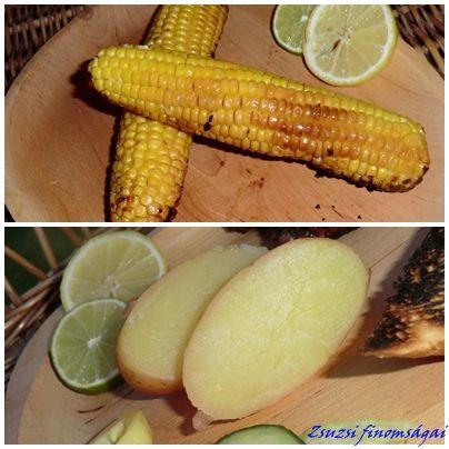 Grillezett kukorica és burgonya