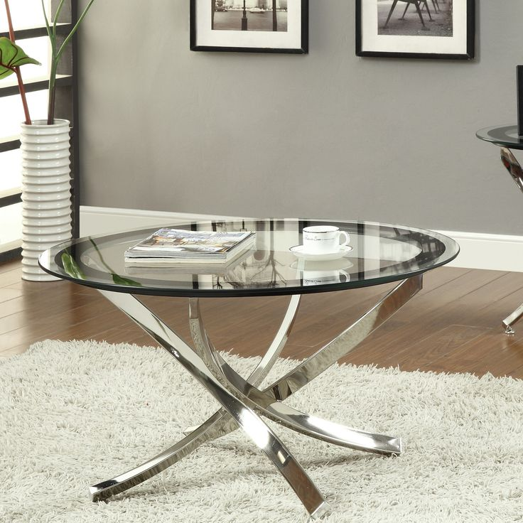 Round Brushed Nickel Coffee Table
