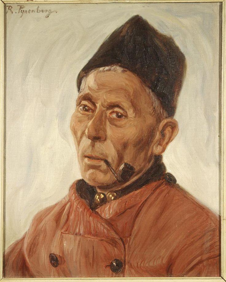 Portret van een Volendammer man 1899-1968 maker: Pijnenburg, Reinier Marinus (Reinier) (1884-1968) #NoordHolland #Volendam