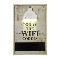 Large Today The WIFI Code Is Chalk Message Board with LED Sensor Light