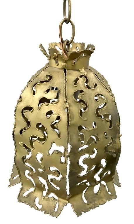 Pair of 1970s Brutalist Style Brass Pendant Lights by Tom Greene Feldman 5