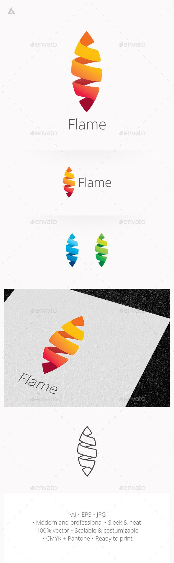 Flame logo  #cocoon #cool #corporate • Available here → http://graphicriver.net/item/flame-logo/14680201?s_rank=69&ref=pxcr