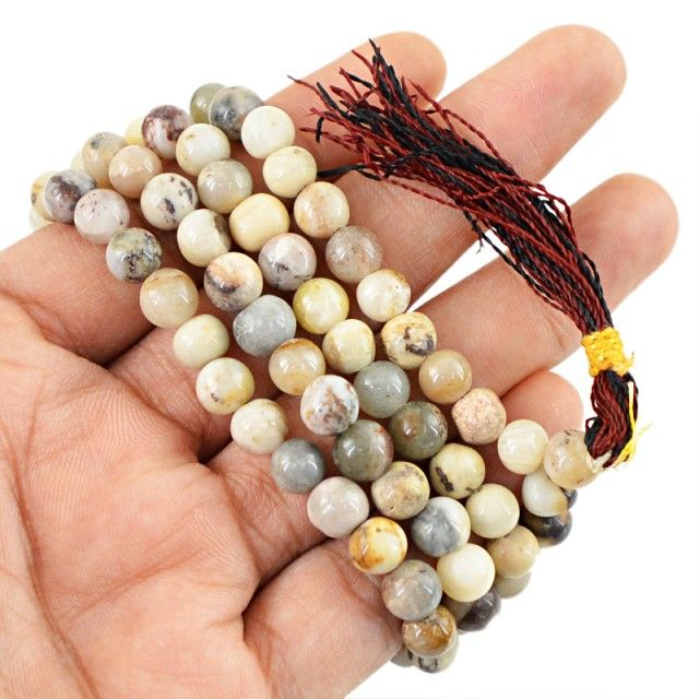$24 SPECIAL PRICE OFFER : 108 Beads Prayer Mala Agate Gemstone Necklace FASHIONABLE BEAD NECKLACE