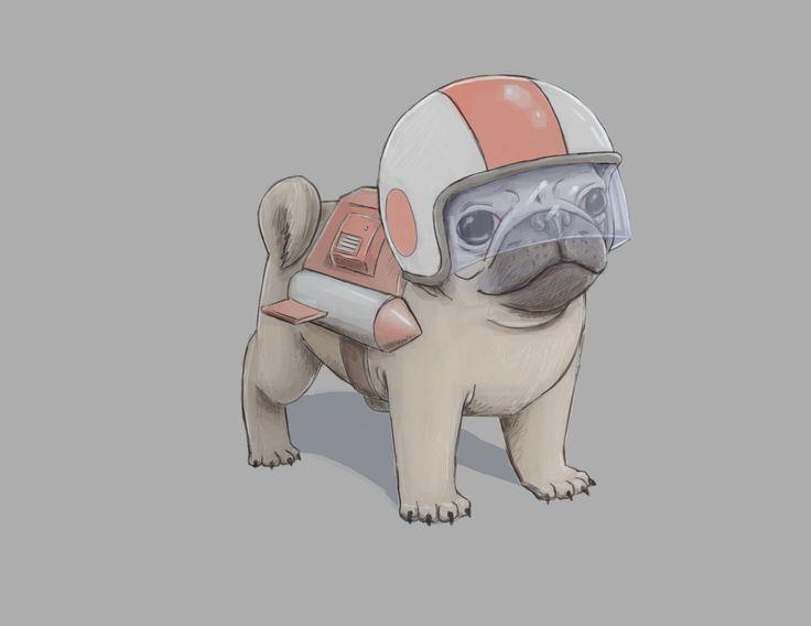 Fluffy Makes Art - Rocket Pug! Rocket Pug! Rocket Pug on things in my...