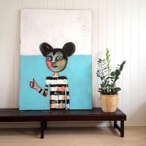 Norwegian artist: Kari Anne Marstein Mickey mouse art Large painting Akrylmaleri: Stort original maleri/mixed media 100 x 140 cm
