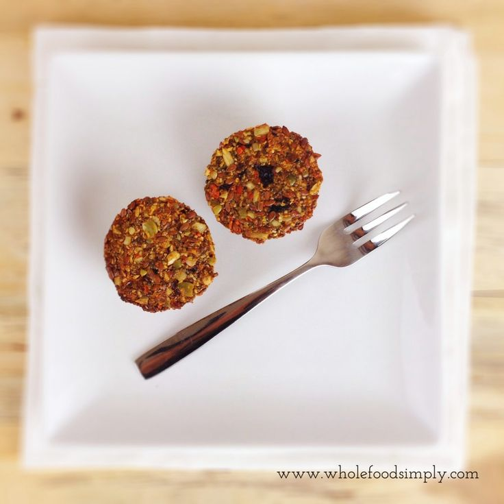 Fruit & Seeds Breakfast Muffins.  Quick, simple and delicious!  Free from gluten, grains, dairy, eggs and refined sugar.  Enjoy!