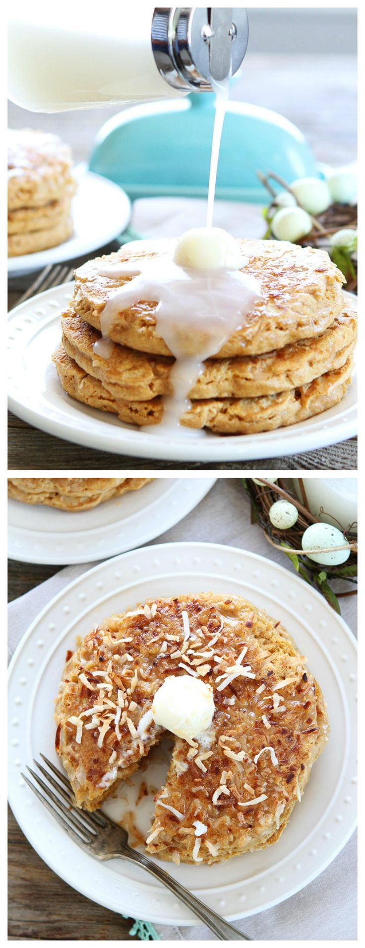 Toasted Coconut Pancakes Recipe on twopeasandtheirpod.com The toasted coconut topping is amazing! You have to try these pancakes!