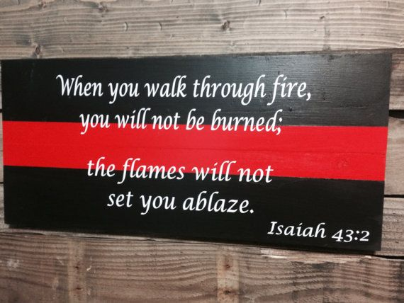 Thin Red Line Firefighter Wall Art by SouthernChicMania on Etsy