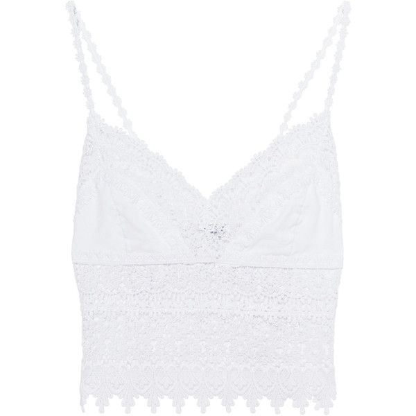 CHARO RUIZ IBIZA Dana Blanco // Short strap top (150 AUD) ❤ liked on Polyvore featuring tops, white strappy top, sexy summer tops, sexy short tops, elastic waist tops and white lace crochet top