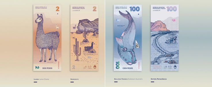 Graphic designers Gilda Martini and Gabriela Lubiano redesigned the Argentinean Pesos that were inspired by the diversity of the fauna and flora.   http://digitalagencynetwork.com/graphic-designers-bring-a-naturalistic-approach-to-the-argentinean-banknotes/