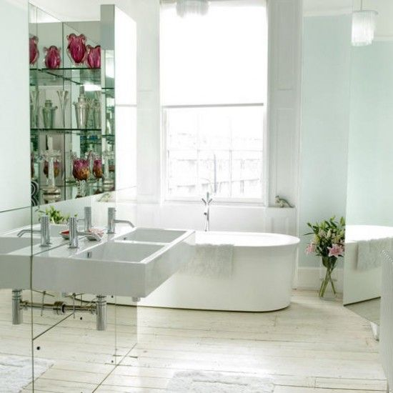 Contemporary bathroom with mirrored wall - http://pinhome.net/bathroom-design/contemporary-bathroom-with-mirrored-wall/