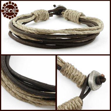 Men's hemp and leather cord bracelet
