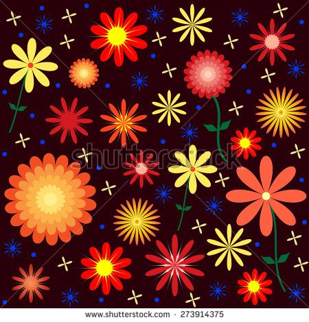 This image is a vector file representing a Floral Vector Pattern Design Illustration. It can seamlessly repeat./Colorful Floral Vector Pattern/Colorful Floral Vector Pattern