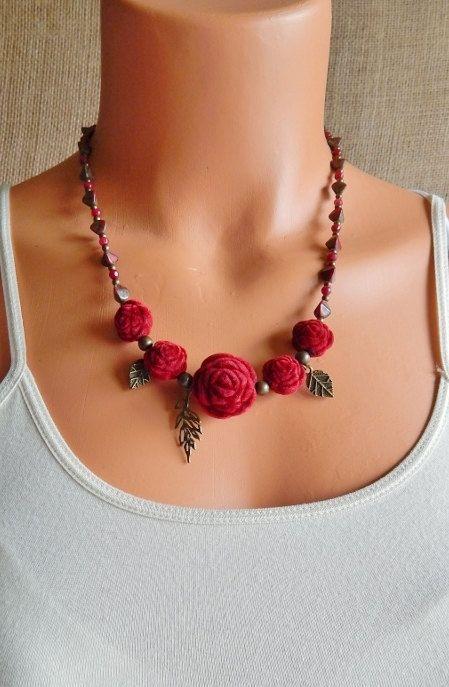 Velvet Rose Necklace Winter Romance Vintage Roses by AJBcreations, $39.00