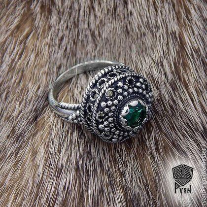 Кольцо боярское из серебра и аметиста перстни подарок на день рождения