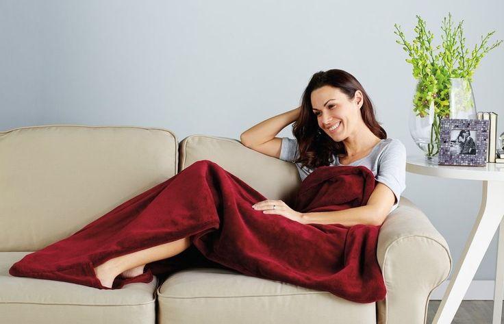 Microplush Heated Electric Throw Blanket Elitestyle Controller Garnet Red #Sunbeam