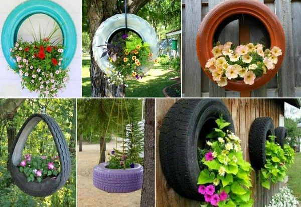 Creative living ideas old car wheels plant container