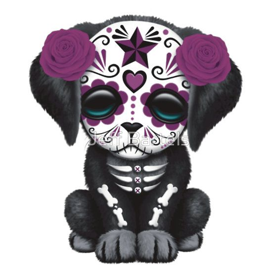 Cute Purple Day of the Dead Puppy Dog Blue