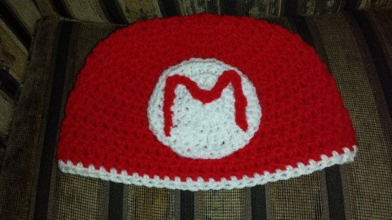 Super Mario Bros. hand crocheted hat by ElvinaBlakeCreations, $15.00