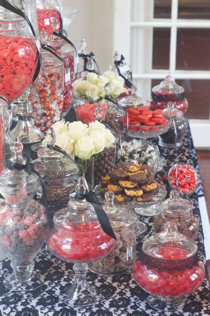 Black & Red Vintage Themed Candy Buffet with Lace by Ooh La La Lolly Bars