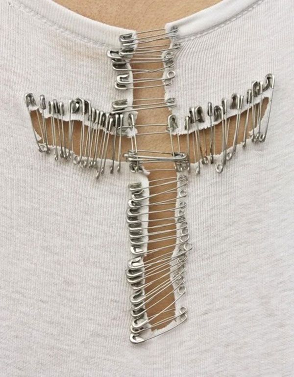 safety pin t-shirt DIY. (I don't want a cross shirt, but I can think of other cool designs this would work with.)
