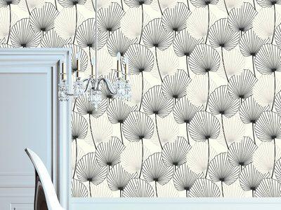 Papier peint 100% intissé motif feuille de palmier noir sur blanc 10.05x0.52m…