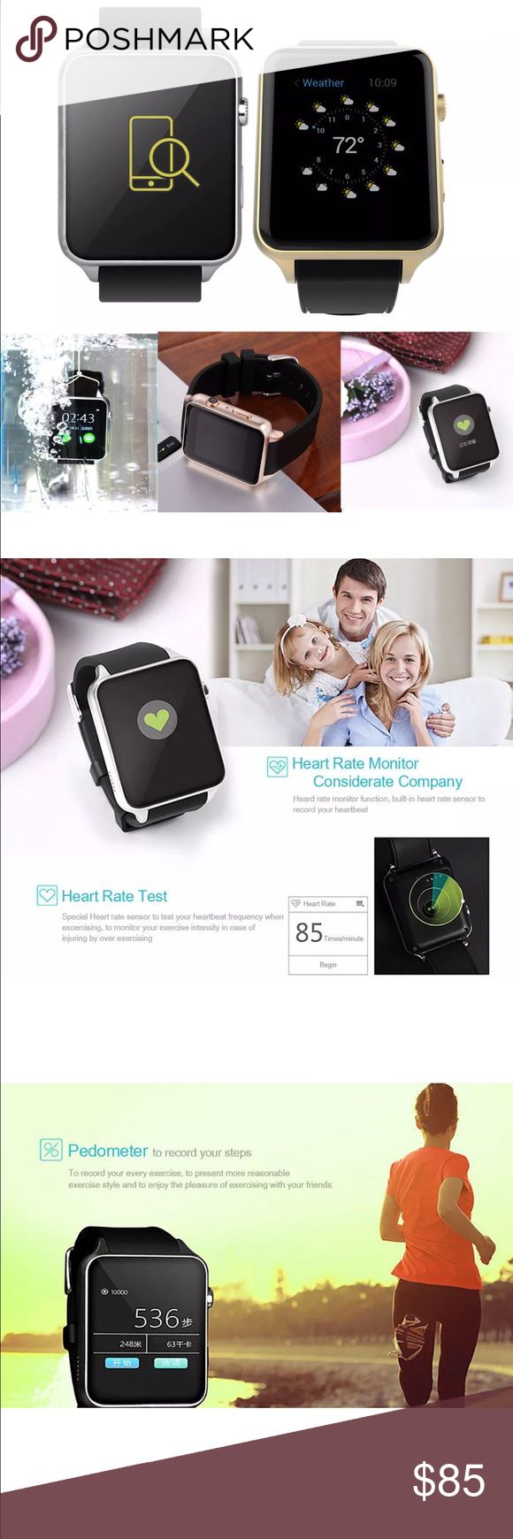 Waterproof Bluetooth Smartwatch iPhone/Android For IPhone / Android Description: Color: Silver Camera: 2.0M Resolution: 240 * 240 pixel Dimensions: 45.2 * 39 * 12.2 mm Memory: 128MB + 32MB Features: Phone book, Bluetooth phone. SMS: Local SMS; SMS Bluetooth synchronization push. Entertainment: MP3, MP4, AVI format for local playback, Bluetooth music playback. Calls to remind: ringing and vibrating alert.Clock Display: sets display clock, free to switch; click to toggle heart. Bidirectional…
