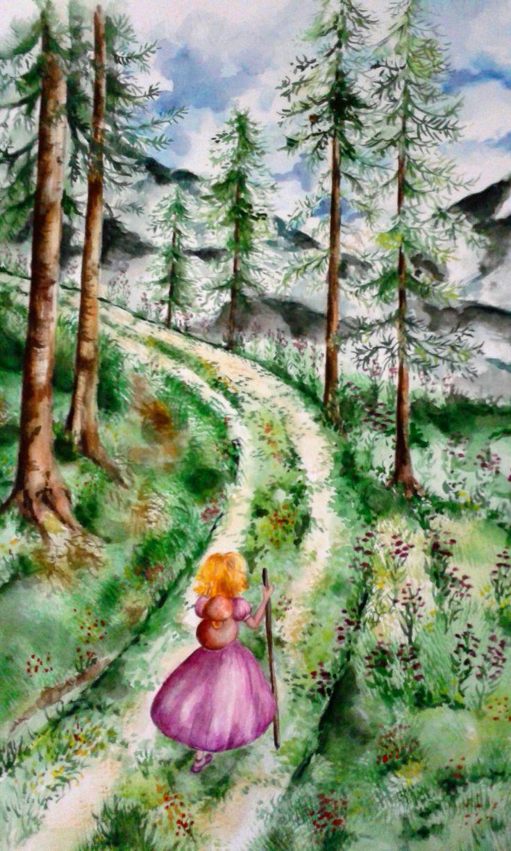 bambina in montagna