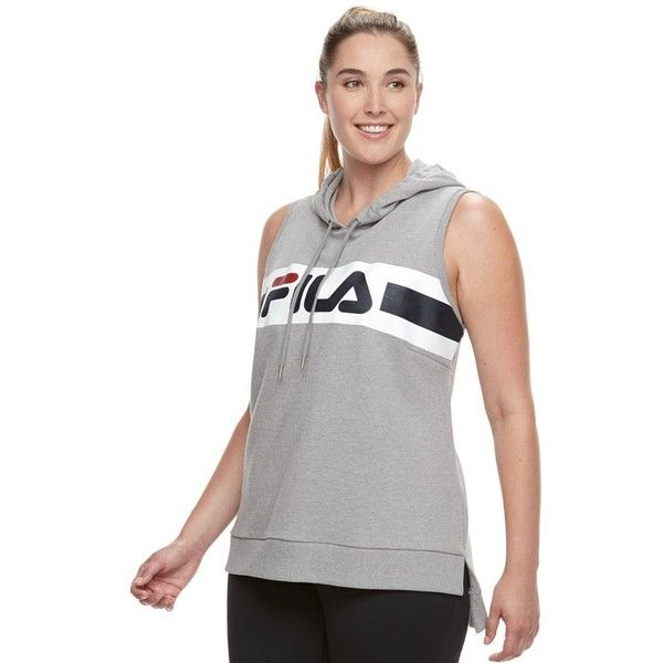 Plus Size FILA Sport® Sleeveless Hoodie (675 MXN) ❤ liked on Polyvore featuring plus size women's fashion, plus size clothing, plus size tops, plus size hoodies, grey, plus size and fila