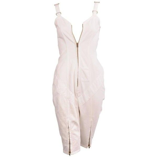 Preowned Katharine Hamnett Abbreviated White Denim Overalls ($395) ❤ liked on Polyvore featuring jumpsuits, overalls, white, overalls jumpsuit, short jumpsuits, katharine hamnett, white jumpsuit and denim bib overalls