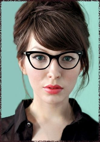 Cute hair with glasses.