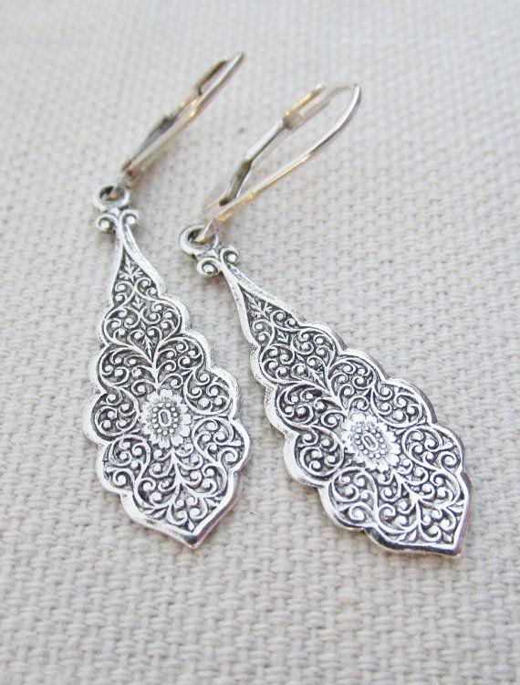 Dangling Silver Earrings Sterling Silver Art by pinkingedgedesigns