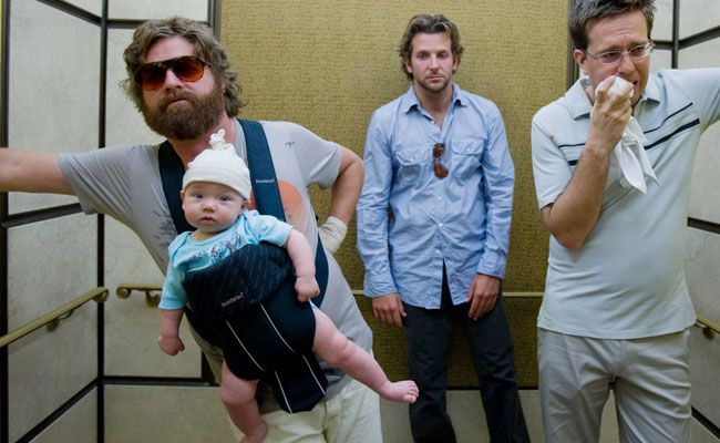 In the Hangover, the boys are headed to Vegas for the weekend — and the bride's socially awkward brother Alan Garner (Zach Galifianakis) is tagging along. The wolf pack, as Alan dubs them, have one hell of night and sober up to a baby, a tiger, and a Mike Tyson.