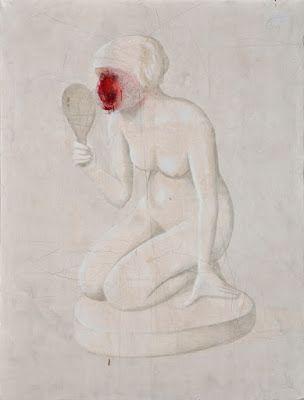 Daniel García - Ruined, 2014, acrílico y lápiz sobre tela, 200 x 150 cm