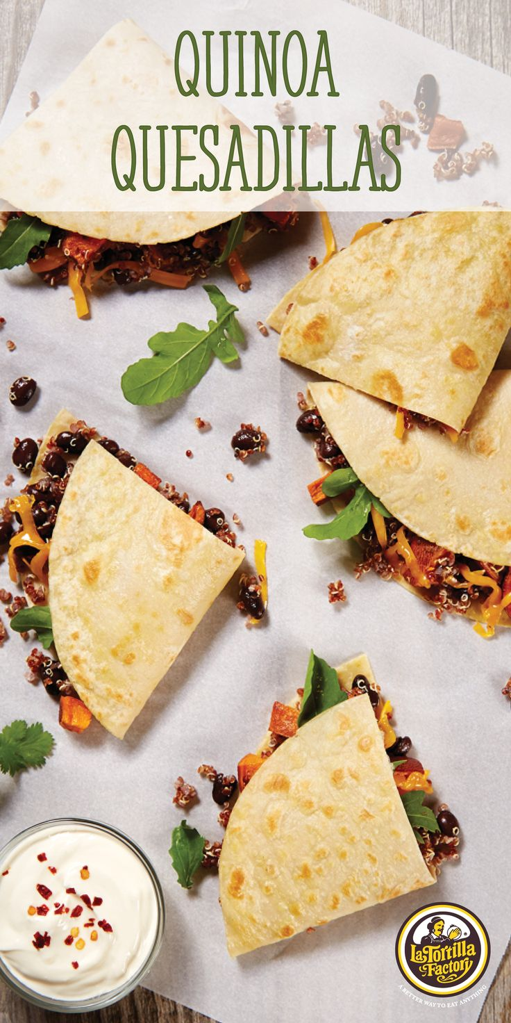 Sweet potato, scallions and red peppers get flash roasted and mixed with quinoa, black beans and a cumin-lime dressing for a healthy, hearty quesadilla filling. Serve warm in one of our Low Carb Flour Tortillas. #betterbites #leanerlife