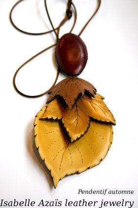 Azais Jewelry- leather leaf pendant