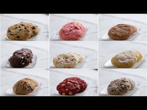 Here is what you'll need! CAKE MIX COOKIES 9 WAYS Servings: 12 cookies, each recipe Chocolate Chip Cookies INGREDIENTS 1 package yellow cake mix 1 cup chocol...