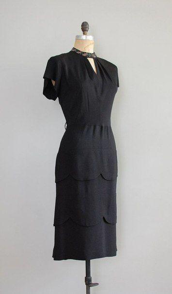 Черные винтажные платья 1940-х годов.