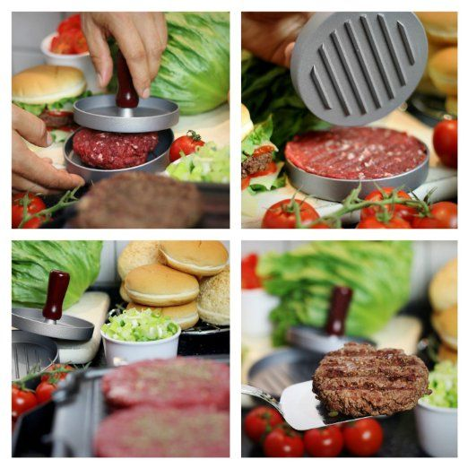 Burger Press, Allezola Hamburger Patty Maker, Non Stick Patty Mold - Ideal for BBQ: https://www.amazon.co.uk/dp/B01CNPJM6C